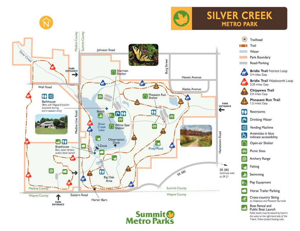 Silver Falls Ohio Map.Silver Creek Metro Park Summit Metro Parks