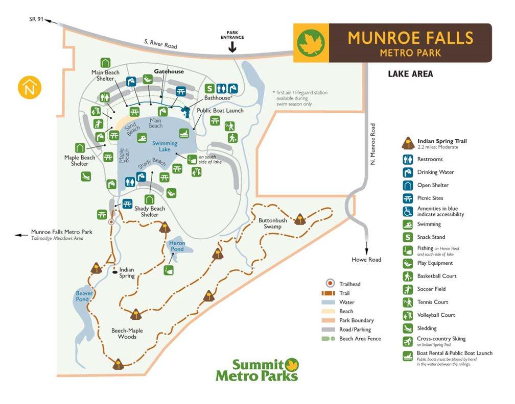 Silver Falls Ohio Map.Munroe Falls Metro Park Summit County Metro Parks
